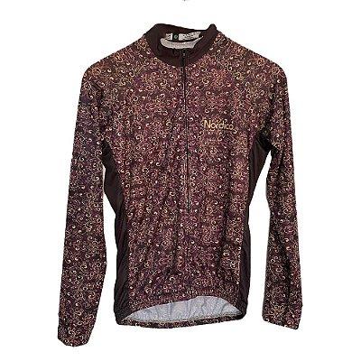 camisa ciclismo feminino manga longa nordico amsterdam roxo ref 1148