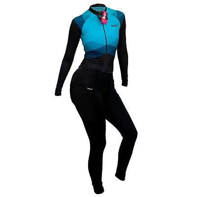 macaquinho calça ciclismo feminino manga longa nordico aqua marine com bolso ref 1070