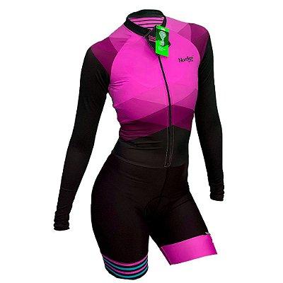 macaquinho ciclismo feminino manga longa nordico rosado marine ref 1239
