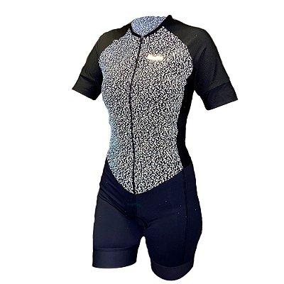 macaquinho ciclismo feminino animal print refletivo ref 221