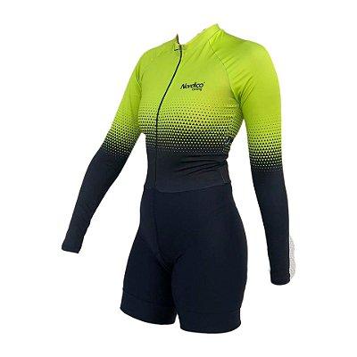 macaquinho ciclismo feminino manga longa setaverde ref 219