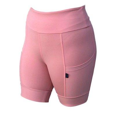 bermuda fitness feminina rosa com bolso ref 1268