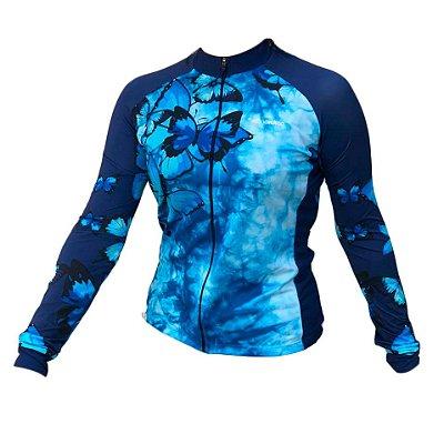 camisa ciclismo feminino manga longa butterfly ref 1270