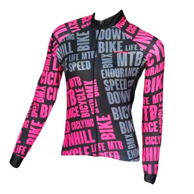 camisa ciclismo feminino manga longa bikepink ref 1276