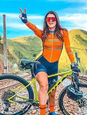 macaquinho ciclismo feminino manga longa Fun recorte lateral ref 1318 m18