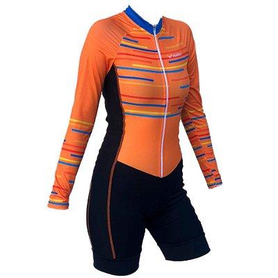 macaquinho ciclismo feminino manga longa Fun recorte lateral ref 1318