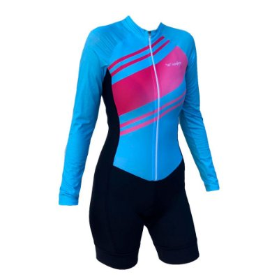 macaquinho ciclismo feminino manga longa siniy recorte lateral ref 1319