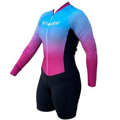 Macaquinho ciclismo feminino manga longa merged recorte lateral ref 1314b