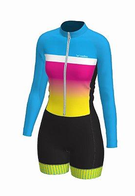 macaquinho ciclismo feminino manga longa rainbow ref 1048b