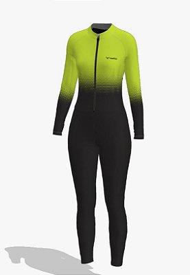 macaquinho calça ciclismo feminino manga longa setaverde ref 219j