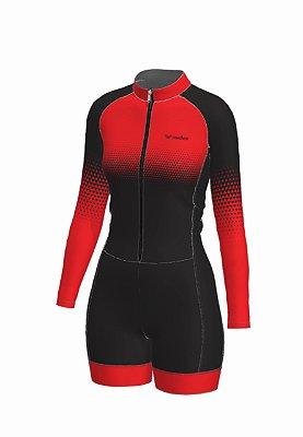 macaquinho ciclismo feminino manga longa setavermelha ref 1017b