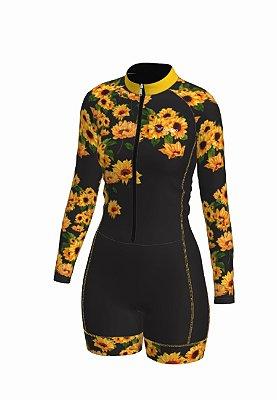 macaquinho ciclismo feminino manga longa girassol ref 1328b