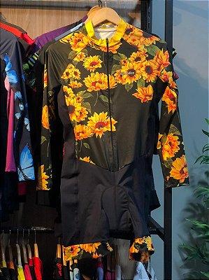 macaquinho ciclismo feminino manga longa girassol ref 1328 m13