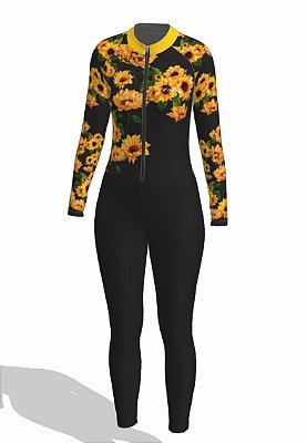 macaquinho ciclismo feminino calça manga longa girassol ref 1328j