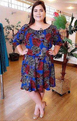Vestido Maxxi Folhas Plus Size