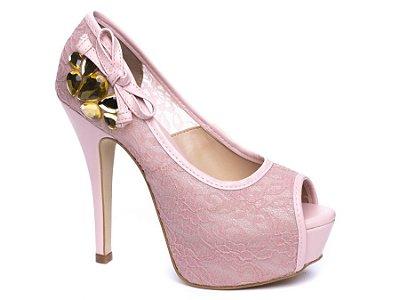Sapato Meia Pata Torricella renda rosê