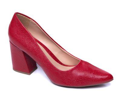 Sapato scarpin craquelado vermelho