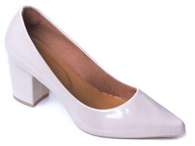 Sapato Scarpin Verniz Off White