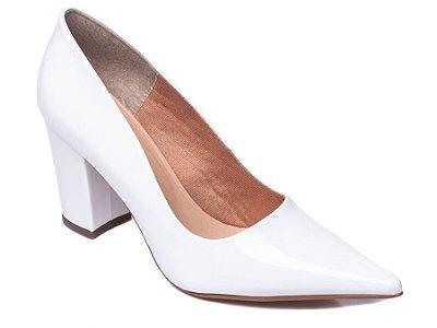 Sapato Scarpin Verniz Branco