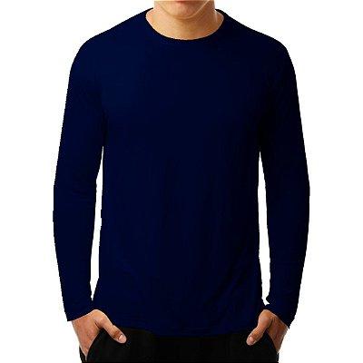 Camiseta Manga Longa Running Basic Monaro Azul Marinho