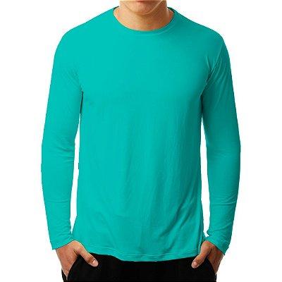 Camiseta Manga Longa Running Basic Monaro Verde Água