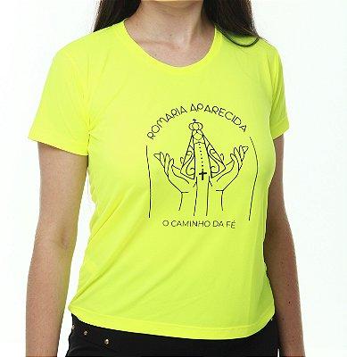 SOB ENCOMENDA - Camiseta Manga Curta ou Baby Look Manga Curta Caminho da Fé Running Monaro Amarelo Flúor