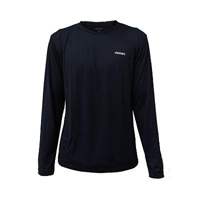 Camiseta Manga Longa Poliamida Esporte Running Basic Preta Monaro