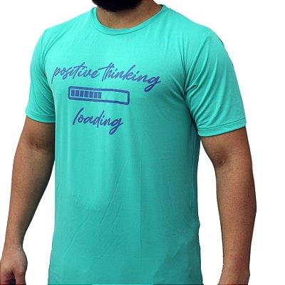 Camiseta Poliamida Esporte Running Positive Thinking Verde Água