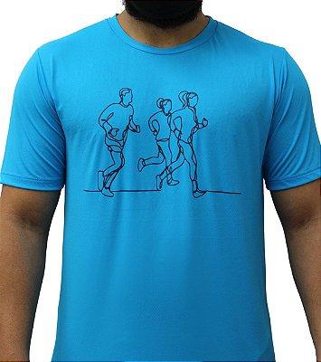 Camiseta Poliamida Esporte Running Lines Azul Médio