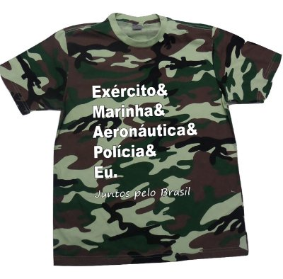 Camiseta Camuflada Exército-Marinha-Aeronáutica-Eu