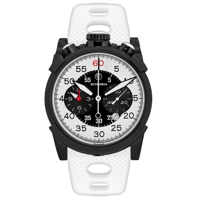 Relogio esportivo masculino CT Scuderia Dirt Track branco e preto e pulseira de silicone branco
