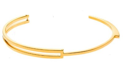 Bracelete masculino de aço inoxidável modelo algema dourado