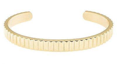 Pulseira de aço masculina estilo bracelete modelo King dourada