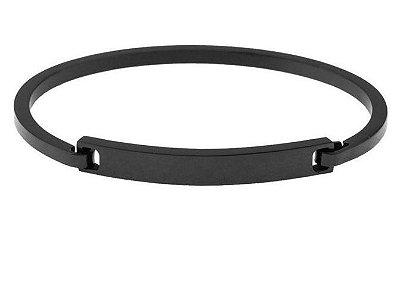 Bracelete masculino de aço inoxidável Preto com fecho de encaixe