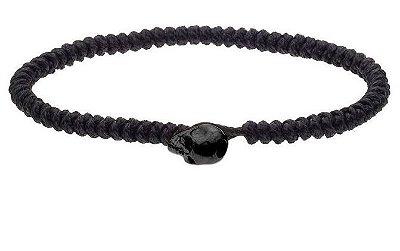 Pulseira de corda masculina com fecho de aço inox preto em forma de crânio