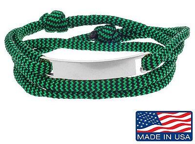 Pulseira de corda masculina verde com placa de aço inox