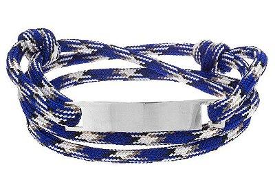 Pulseira de corda masculina azul com placa de aço inox