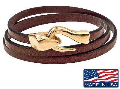 Pulseira de couro masculina marrom com fecho modelo cobra dourado