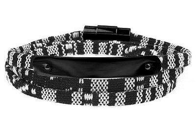 Pulseira de corda masculina preto e cinza e placa de aço inox preto PVD