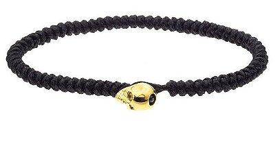 Pulseira de corda masculina com fecho de aço inox dourado em forma de crânio