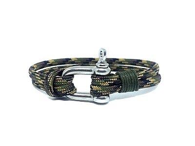 Pulseira de corda masculina Camuflada e fecho em Aço Inox