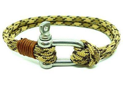 Pulseira de corda masculina Camuflada Desértica e fecho em Aço Inox