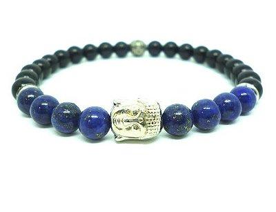 Pulseira de pedra masculina Onix e Howlite azul com Buda