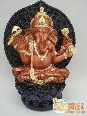Ganesha Sentado Colorido 15cm gesso