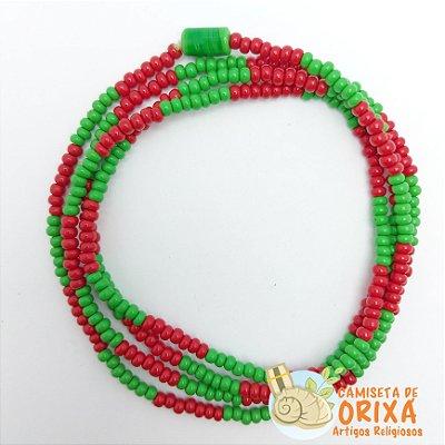 Guia Miçanga Verde e Vermelha Leitosa