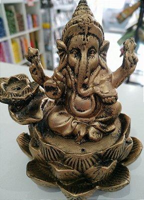 Incensário Cascata Flor de Lótus Ganesha 12cm