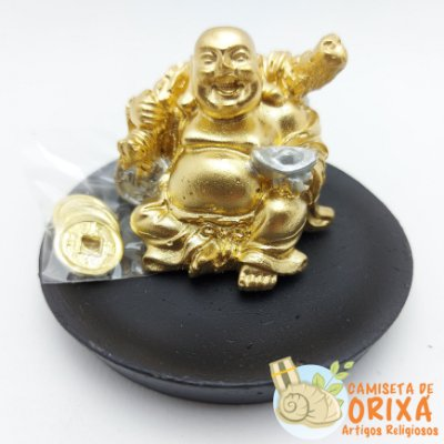 Buda Ritual da Riqueza com Moedas 8cm