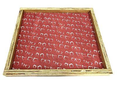 BANDEJA Expositora de Madeira Rústica Modelo: SANT_G cor Vermelho