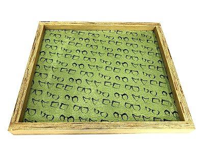 BANDEJA Expositora de Madeira Rústica Modelo: SANT_G cor Verde