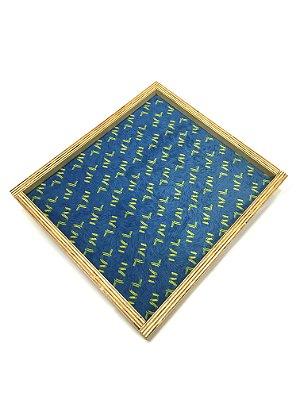 BANDEJA Expositora de Madeira Rústica G Modelo: Style cor Azul